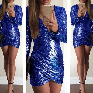 LMFON NIGHTCLUB SEQUINED BACKLESS DRESS