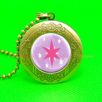 my little pony twilight sparkle unicorn cutie mark mlp pendant locket necklace, girl gift