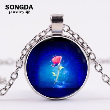 SONGDA Witch Rose Glass Cabochon Necklace Look for True Love Statement Necklace Women Gifts Beauty and the Beast Movies Jewelry