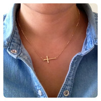 Adjustable Side Gold or Silver Cross Necklace