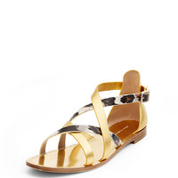 Cannes Gold and Leopard Sandal