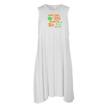Keep Your Kiss... St. Patrick's Day Tee - STPATS08 Women's Sleeveless Spandex Pleat Dress