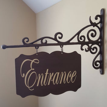 Custom Large Rectangular Shaped Metal Sign and Bracket - Powder Room, Laundry, Office, Pantry
