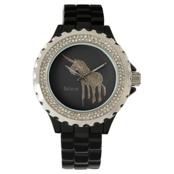 Magical Horse Cute Unicorn Black and Gold Look Watch