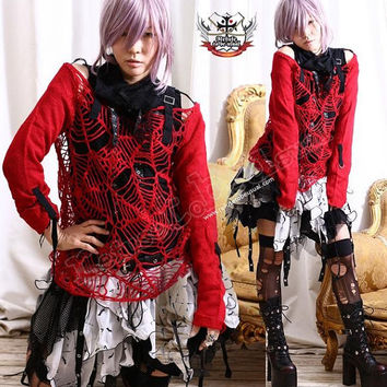 RTBU Goth Punk Crochet Knit Cobweb Overall Sweater Red