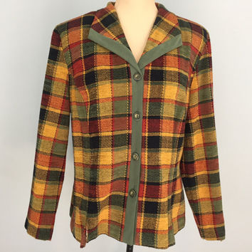 Plus Size 18 Womens Fall Jackets Plaid Jacket Fall Colors Fashion Jacket Olive Green Rust Gold FREE SHIPPING 1X Women Plus Size Clothing