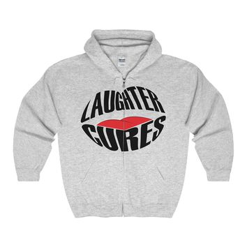 Awesome Laughter Cures Full Zip Hooded Sweatshirt in 14 Colors