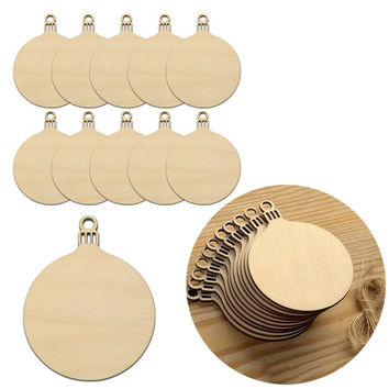 10pcs Wooden Round Bauble Hanging Christmas Tree Blank Decorations Gift Tag For Christmas Decoration
