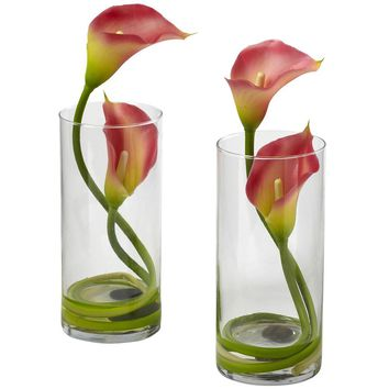 Artificial Flowers -Double Calla Lily With Cylinder -Set Of 2 Arrangement No2
