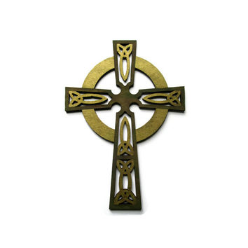 Decorative Cross, Celtic cross wall hanging, hand painted rustic wooden cross in olive brown and antique gold, with Celtic knotwork