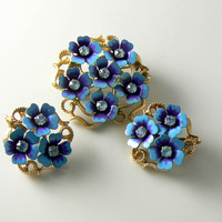 Vintage Avon Blue Enamel Metal Flowers Brooch Earrings