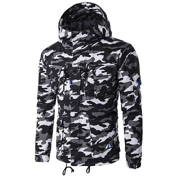 Men Military Camouflage Jackets Winter Basic Coats Cotton Zipper Parka Casual Windbreaker outerwear Hooded Coat multi pocket