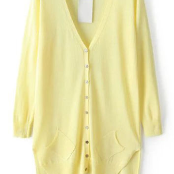 Yellow V Neck Asymmetrical Long Sleeve Knit Cardigan