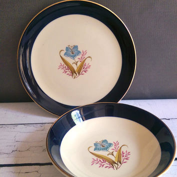 Taylor Smith Taylor Versatile Bowl and Plate Set/ Vintage Mid Century Dishes/ Navy Blue and Gold Dishes/ Anthropologie style dishes