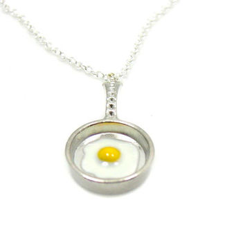 Fried Egg Necklace, Frying Pan Necklace, Egg Necklace, Fried Egg Charm,  Cooking Charm Necklace, Cooking Necklace, Kitchen Charm, Food Charm