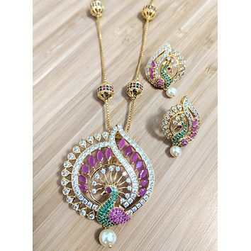 Peacock design one gram gold polished CZ stone Large Pendant with ball chain necklace and stud earring set