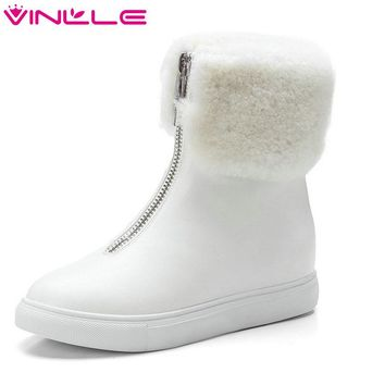 VINLLE 2018 Women Boots Ankle Boots Wedge Med Heel PU Leather Pointed Toe Zipper Snow Boots Ladies Motorcycle Shoes Size 34-43