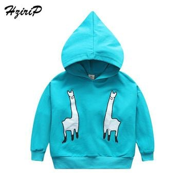 HziriP 2018 New Autumn Boys Girls Fashion Cartoon Alpaca Jacket Coats Kids Animal Printing Cotton Hooded Jacket For Kids Outwear