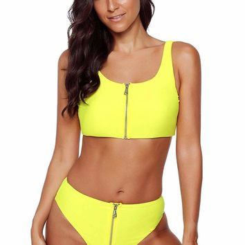 Yellow Zip Front 2pcs Bikini Sporty Swimsuit