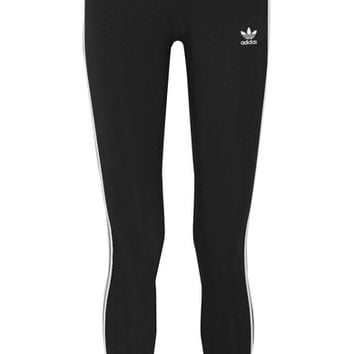adidas Originals - Striped stretch-cotton leggings