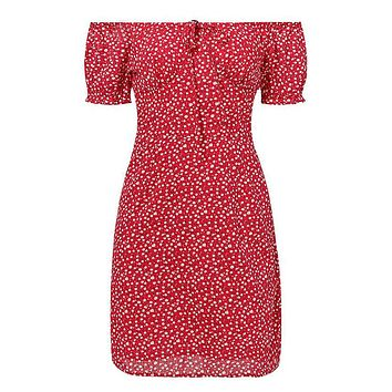 Wide Awake Red White Floral Pattern Short Puff Sleeve Elastic Off The Shoulder Bodycon Casual Mini Dress