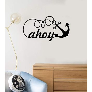 Vinyl Wall Decal Ahoy Lettering Nautical Style Kids Room Idea Decor Stickers Mural (ig5530)