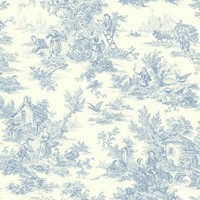 York Wallcovering Blue Book Campagne Toile Wallpaper AT42