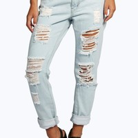 Petite Claudia Ripped Distressed Boyfriend Jeans