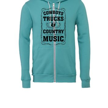 Cowboys, Trucks & Country Music - Unisex Full-Zip Hooded Sweatshirt