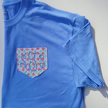 Embroidered Pocket T-Shirt. Perfect for initials or Sorority. Great gift idea.