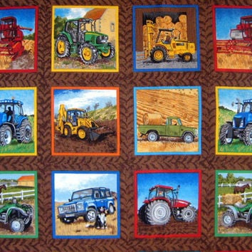 Tractor Labels Farm Cotton Quilting Squares Fabric - Makower UK Fabric Panel  - destash 1/3 Yard