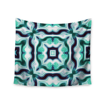 """Dawid Roc """" Vintage Flower Pattern 3"""" Green Abstract Wall Tapestry"""