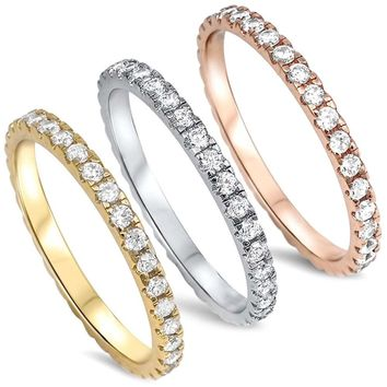 STERLING SILVER Rose Yellow Gold AAA CZ Eternity Anniversary Wedding Ring Band