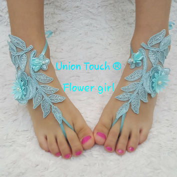 Blue Barefoot Sandal Wedding Foot Jewelry Turquoise Barefoot Sandle Bridesmaid Gift