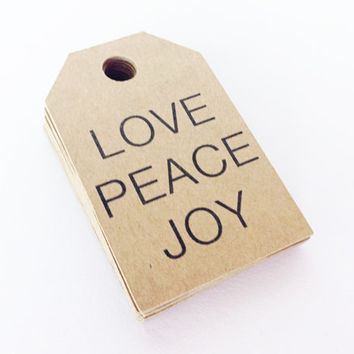 25 Kraft LOVE PEACE JOY Tags -  Hang Tags, Gift Tags, Labels, Die Cuts -  2.0 X 1.25 inch - Handmade Packaging