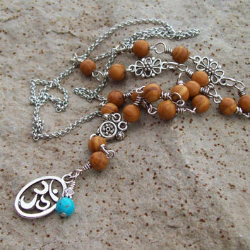 Om Pendant Necklace with Wood Jasper Gemstones and Silver Chain Link Necklace - Y-style Long Necklace