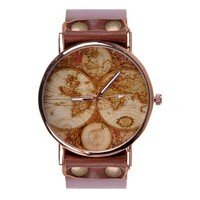 ZLYC Unisex Fashion Handmade World Map Classic Golden Edge Leather Strap Round Face Wrist Watch, Brown