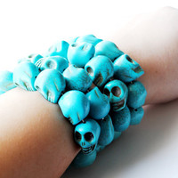 Calavera Azul   Blue Sugar Skull Bracelet by theblackfeather
