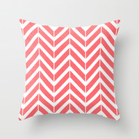 Coral Broken Chevron Throw Pillow by The Petite Pear