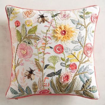 Flowers with Bees Pillow