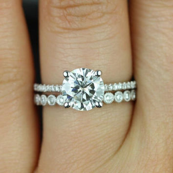 Eloise 7.5mm & Petite Bubbles 14kt White Gold Round FB Moissanite and Diamonds Wedding Set (Other metals and stone options available)