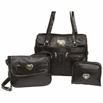 3pc Italian Stone Design Genuine Leather Purse Set