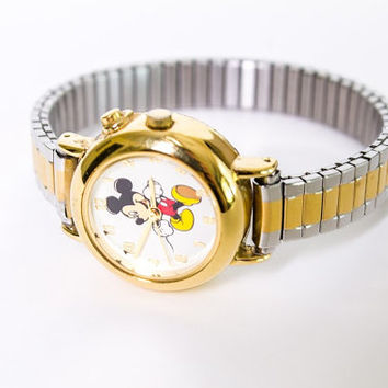 Vintage Disney Mickey Mouse Watch, Stretch Elastic Band, Gold Filled, Stainless Steel, Great Condition, Working Battery!