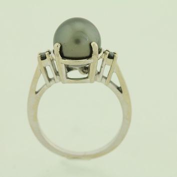Cook Island South Sea Pearl / Black Diamond 10kt Gold Ring