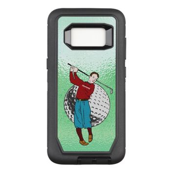 Vintage Retro Golf Player With Golf Club And Ball OtterBox Defender Samsung Galaxy S8 Case