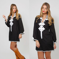 Vintage 70s ETHNIC Caftan Mini Dress EMBROIDERED Boho Tunic Black & White Hippie Tunic Dress