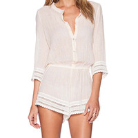 eberjey Love Shack Pia Romper in Peach