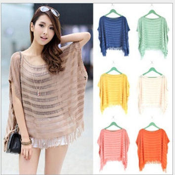 New Women fashion Blouse Loose Hollow Short Sleeved Knitted Bat Fringed Shawl Coat Smock  tops