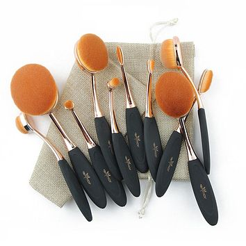 Professional 10 pcs Rose Gold Oval Makeup Brushes with Bag