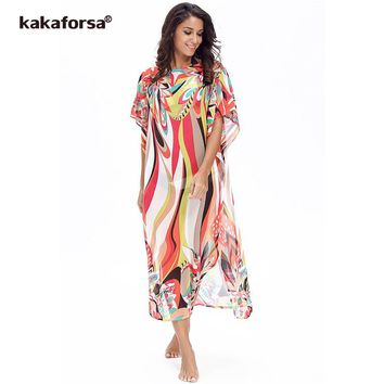 Kakaforsa 2018 Women's Chiffon Cover-ups Kaftan Beach Dress Sarongs Pareos Bikini Cover up Cape for a Swimsuit Robe De Plage
